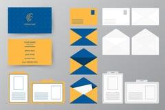 Ensemble de carte de visite professionnelle de visite avec l'enveloppe et l'insigne Col personnel de style Photos stock