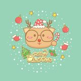 Ensemble de carte de voeux de célébration de Noël illustration stock