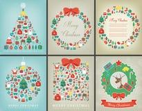 Ensemble de carte de voeux de Noël avec des souhaits de Joyeux Noël et de bonne année Collection d'hiver de vacances Vecteur Images stock