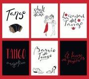Ensemble de cartes avec des citations de tango illustration libre de droits