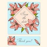 Ensemble de cartes avec Lily Floral Motifs Photos stock