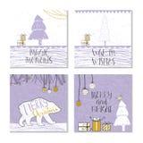 Ensemble de 4 cartes cadeaux mignonnes de Noël avec la citation Images stock