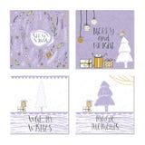 Ensemble de 4 cartes cadeaux mignonnes de Noël avec la citation Photo stock