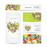 Ensemble de cartes, coeur floral pour votre conception Photographie stock