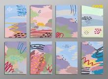 Ensemble de cartes créatives d'aspiration abstraite de main Concevez pour l'affiche, fond de carte de mariage, invitation, insect illustration stock