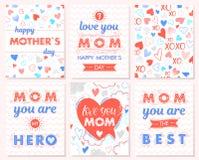 Ensemble de cartes créatives de jour de mères Image libre de droits
