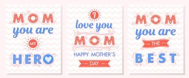 Ensemble de cartes créatives de jour de mères Photographie stock libre de droits