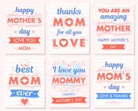 Ensemble de cartes créatives de jour de mères Image stock
