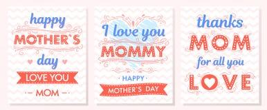 Ensemble de cartes créatives de jour de mères Photos libres de droits