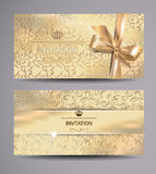 Ensemble de cartes d'invitation avec le fond floral Photo stock