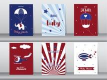 Ensemble de cartes d'invitation de fête de naissance, cartes d'anniversaire, affiche, calibre, cartes de voeux, mignon, plates, i illustration libre de droits