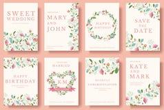 Ensemble de cartes d'invitation de fleur Ensemble coloré d'illustration de carte d'invitation de mariage de salutation Conception illustration libre de droits