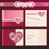 Ensemble de cartes d'invitation de mariage Images stock