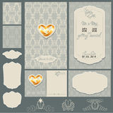 Ensemble de cartes d'invitation de mariage avec les éléments floraux Photographie stock libre de droits