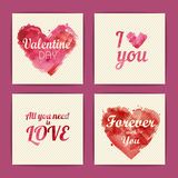 Ensemble de cartes d'invitation de valentine Photos stock