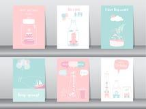 Ensemble de cartes d'invitations d'anniversaire, affiche, salutation, calibre, bouteille, maison, maison, illustrations de vecteu illustration libre de droits