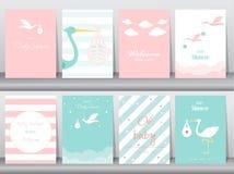 Ensemble de cartes d'invitations de fête de naissance, affiche, salutation, calibre, cigogne, illustrations de vecteur illustration stock