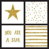 Ensemble de cartes de conception d'or de scintillement avec des étoiles Illustration de vecteur illustration stock