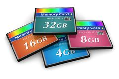 Ensemble de cartes de mémoire de CompactFlash Images libres de droits
