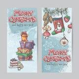 Ensemble de cartes de Noël verticales avec des lampes-torches, des cloches et le cadeau Photos libres de droits