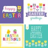 Ensemble de cartes de Pâques mignonnes de hippie Image libre de droits