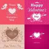 Ensemble de cartes de Saint-Valentin de salutation Image libre de droits