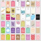 Ensemble de 48 cartes de tourillonnement créatives Illustration de vecteur Calibre pour scrapbooking de salutation, planificateur Photos libres de droits
