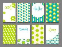 Ensemble de cartes de tourillonnement imprimables Photographie stock