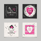 Ensemble de cartes de valentines Photographie stock