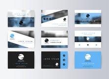 Ensemble de cartes de visite professionnelle de visite, fond bleu Carte de l'information de calibre illustration libre de droits