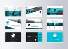 Ensemble de cartes de visite professionnelle de visite, fond bleu Carte de l'information de calibre Photo stock