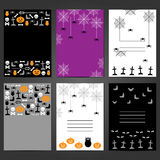 Ensemble de cartes de voeux de Halloween, insectes, invitations de partie Photos stock