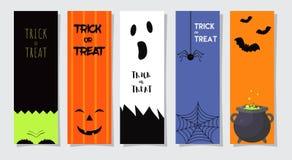 Ensemble de cartes de voeux ou d'insectes heureux de Halloween Illustration de vecteur Conception d'invitation de partie avec l'e Image libre de droits