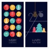 Ensemble de cartes de voeux tirées par la main universelles de vecteur pour Noël Photo libre de droits