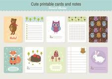 Ensemble de cartes et de notes imprimables mignonnes de vecteur Images libres de droits