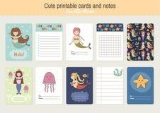 Ensemble de cartes et de notes imprimables mignonnes de vecteur Image stock