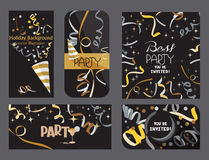 Ensemble de cartes foncées de vacances avec des confettis et des bandes de téléimprimeur Photographie stock