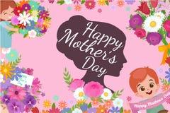 Ensemble de cartes heureuses de jour de mères avec le texte et les enfants de salutation, le bébé garçon et la fille avec le bouq Photo libre de droits