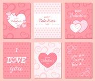 Ensemble de cartes heureuses de salutation et d'invitation de jour du ` s de Valentine Photos stock