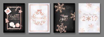 Ensemble de cartes de Joyeux Noël élégant et de nouvelle année 2019 avec briller Rose Gold Glitter Christmas Balls, étoiles, floc Illustration de Vecteur