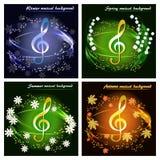 Ensemble de cartes musicales par les saisons illustration libre de droits