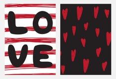 Ensemble de cartes passionnées pour le jour du ` s de St Valentine Images stock