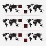Ensemble de cartes pointillées du monde dans la résolution différente Photos libres de droits