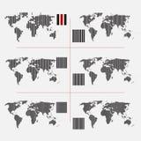 Ensemble de cartes pointillées du monde dans la résolution différente Images stock