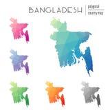 Ensemble de cartes polygonales du Bangladesh de vecteur Images stock