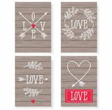 Ensemble de cartes pour votre conception Amour Cartes pour les vacances Le jour de Valentine Illustration Stock