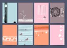 Ensemble de cartes tirées par la main créatives de vintage mieux Images stock