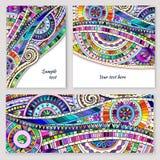 Ensemble de cartes tribales de vecteur de griffonnage abstrait illustration stock