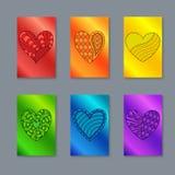 Ensemble de cartes verticales colorées ou conception de bannières avec le dessin il illustration libre de droits