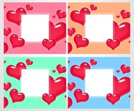 Ensemble de cartes de voeux colorées romantiques avec des coeurs Conception d'affiche Illustration de vecteur Photographie stock libre de droits